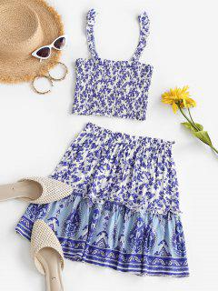 Bohemian Flower Ruffle Smocked Tiered Skirt Set - Blue M