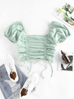 ZAFUL Cinched Smocked Puff Sleeve Crop T Shirt - Light Green S