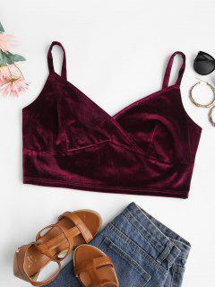 ZAFUL Plus Size Velvet Surplice-front Cropped Cami Top - Deep Red 2xl