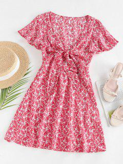 ZAFUL Leaves Print Front Knot Mini Dress - Red S