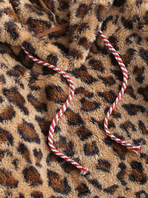 Sudadera con Capucha de Talla Grande con Estampado de Leopardo - Amarillo profundo L Mobile