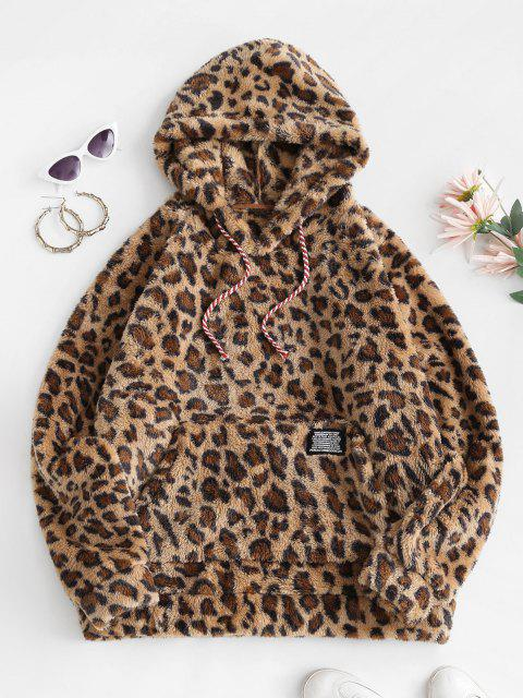 Leopard Fluffy Label Front Pocket Oversized Hoodie - اصفر غامق M Mobile