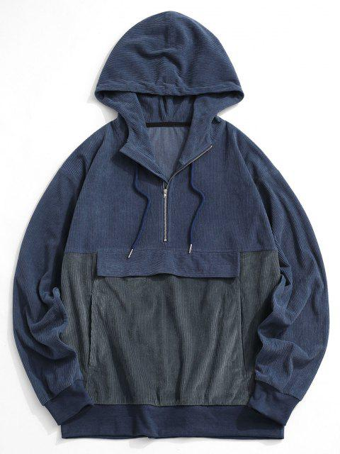 women Colorblock Half Zip Corduroy Hoodie - BLUE 2XL Mobile