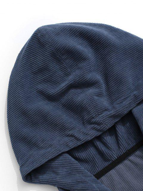 Sweat à Capuche en Blocs de Couleurs à Demi-Zip en Velours Côtelé - Bleu S Mobile