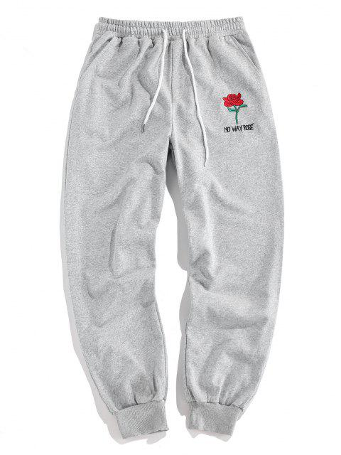 outfits ZAFUL Rose Graphic Jogger Pencil Pants - LIGHT GRAY S Mobile