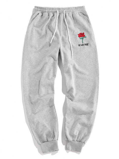 ZAFUL Pantalones Lápiz de Gráfico de Rosa - Gris Claro XL Mobile