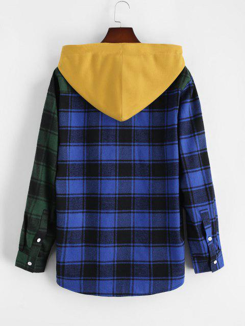 unique Colorblock Plaid Hooded Shirt Jacket - BLUE M Mobile