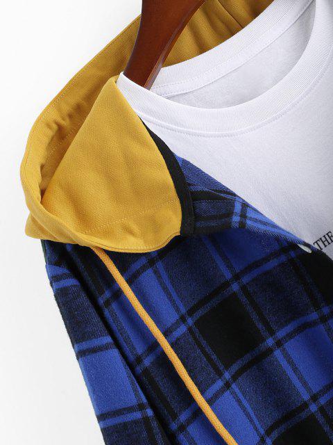 ladies Colorblock Plaid Hooded Shirt Jacket - BLUE L Mobile