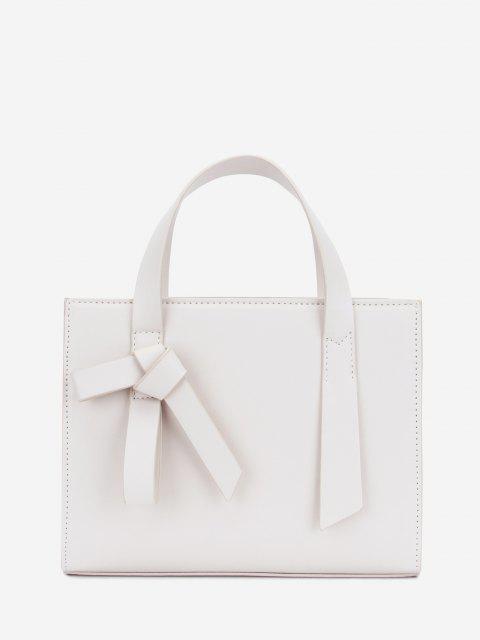 Bolsa de Hombro Adornado con Nudo Rectángulo - Blanco  Mobile