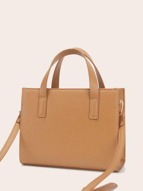 womens Solid Rectangle Knot Embellished Shoulder Bag - TIGER ORANGE  Mobile