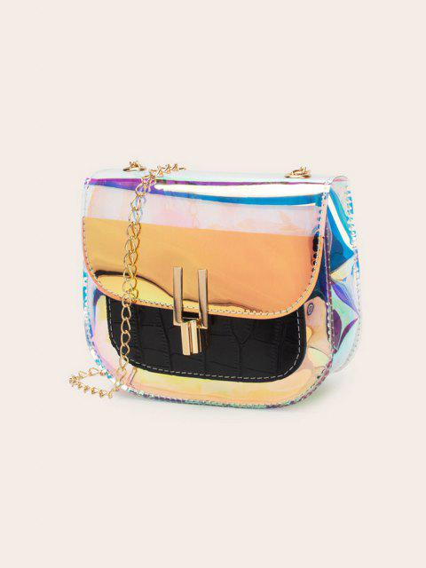 chic Chain Iridescent Transparent Spliced Crossbody Bag - BLACK  Mobile