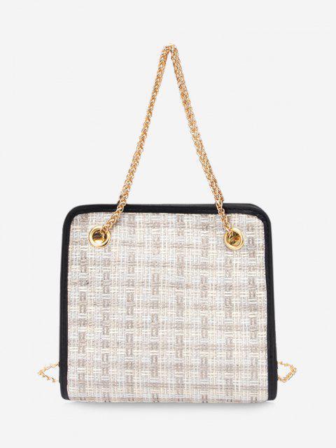Tweed Plaid Pattern Chain Handbag - أبيض  Mobile