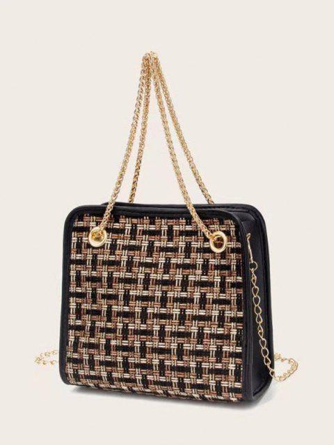 Tweed Plaid Pattern Chain Handbag - أسود  Mobile