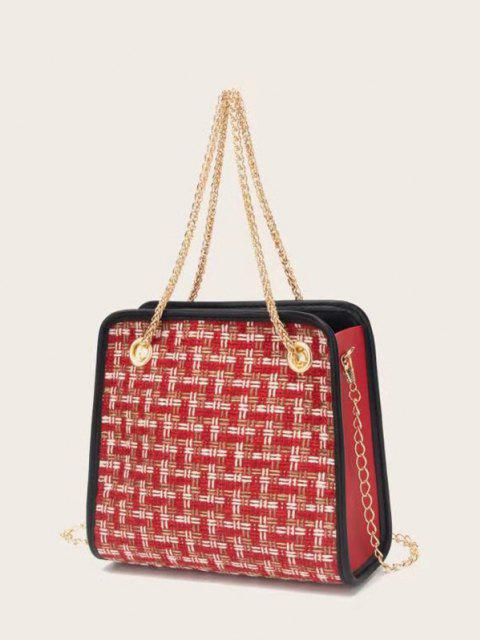sale Tweed Plaid Pattern Chain Handbag - RED WINE  Mobile