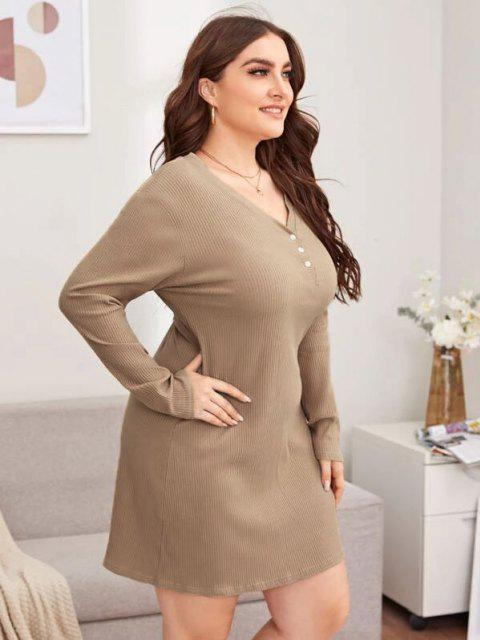sale Plus Size Rib-knit Basic Night Dress - LIGHT COFFEE 5XL Mobile