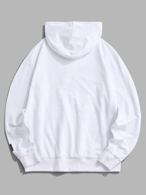 hot Sunshine Yin Yang Happy Face Flower Hoodie - WHITE XS Mobile