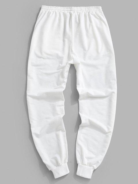 Pantalon de Survêtement Lettre Imprimée Contrastée à Cordon - Blanc 2XL Mobile