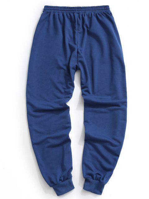 Pantalon de Survêtement Lettre Imprimée Contrastée à Cordon - Bleu profond S Mobile