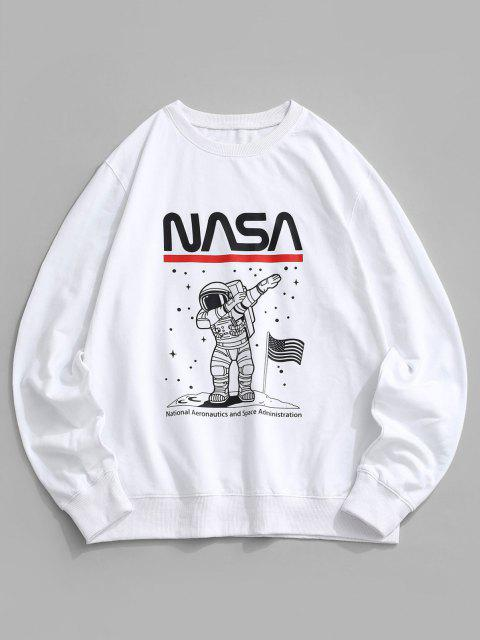 latest American Flag Astronaut Graphic Crew Neck Sweatshirt - WHITE XS Mobile