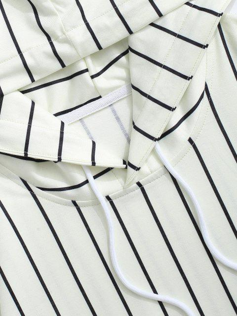 lady Two Tone Striped Drop Shoulder Hoodie - WHITE L Mobile