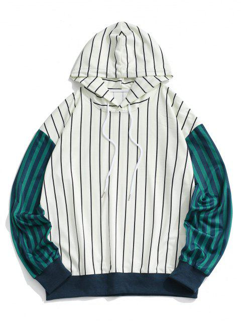 ladies Two Tone Striped Drop Shoulder Hoodie - WHITE 2XL Mobile