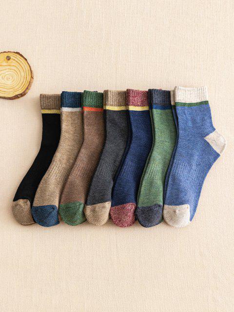 best 7 Pairs Cozy Colorblock Quarter Socks Set - MULTI  Mobile