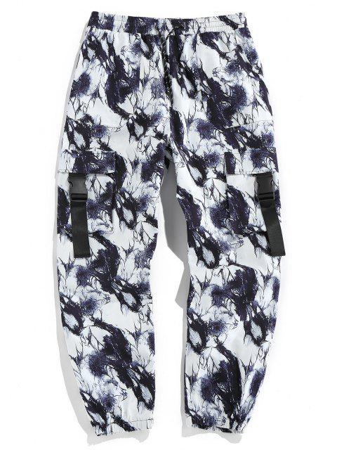 Pantaloni di Cargo di Tie Dye con Fibbia di ZAFUL - Nero M Mobile