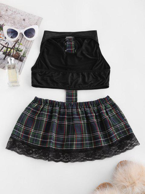 women Lace Trim Plaid Schoolgirl Lingerie Costume - BLACK L Mobile
