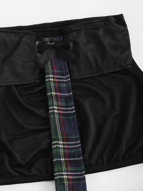trendy Lace Trim Plaid Schoolgirl Lingerie Costume - BLACK XL Mobile