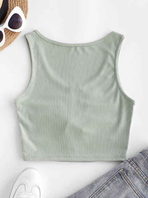 shop Ribbed Cinched Cutout Crop Tank Top - LIGHT GREEN L Mobile