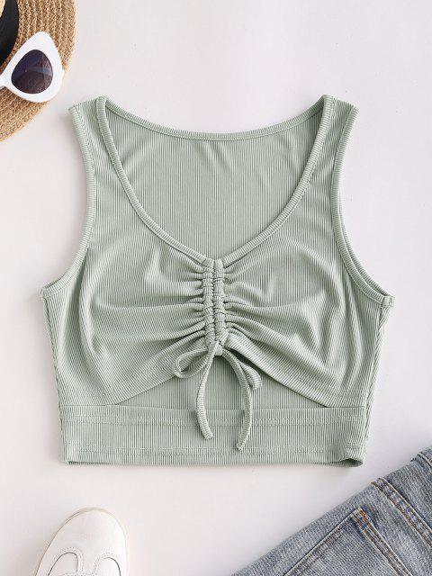 best Ribbed Cinched Cutout Crop Tank Top - LIGHT GREEN M Mobile