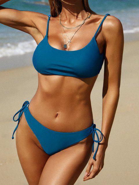 ZAFUL Maillot de Bain Bikini à Coupe Haute à Lacets - Bleu M Mobile