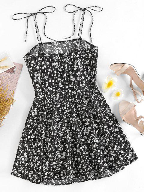 ZAFUL Ditsy Print Tie Shoulder Sleeveless Dress - أسود L Mobile