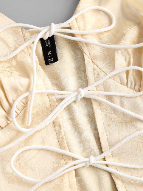 Top Cami Corto Jacquard Corbata Frontal - Amarillo claro M Mobile