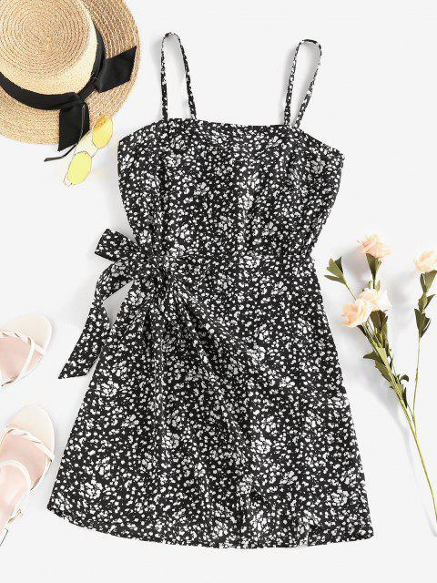 shops ZAFUL Ditsy Floral Knot Cami Overlap Dress - BLACK S Mobile