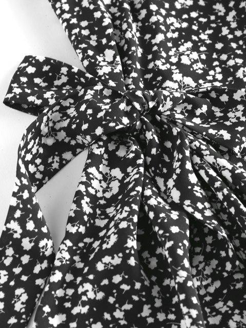 ZAFUL Vestido con Nudo y Estampado de Flores - Negro L Mobile