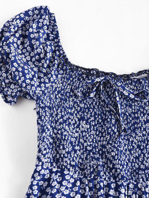 ZAFUL Ditsydruck Kittel Bowknot Rüschen Minikleid - Tiefes Blau M Mobile