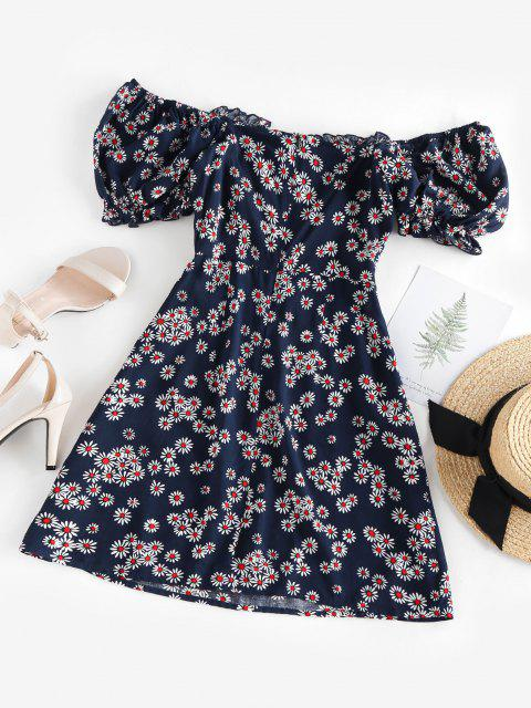 sale ZAFUL Daisy Floral Off Shoulder Frilled Dress - DEEP BLUE M Mobile