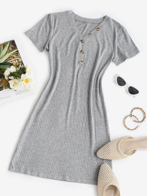 fancy Rib-knit Buttoned Slinky Bodycon Dress - LIGHT GRAY ONE SIZE Mobile