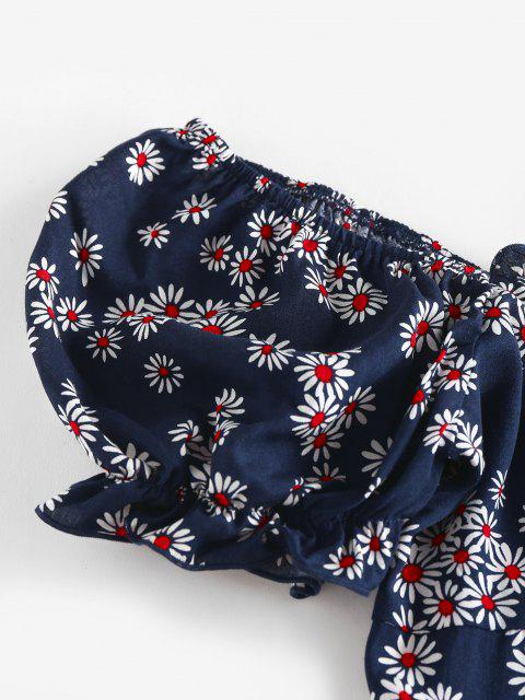 ZAFUL Robe Marguerite Fleurie à Epaule Dénudée à Volants - Bleu profond XL Mobile