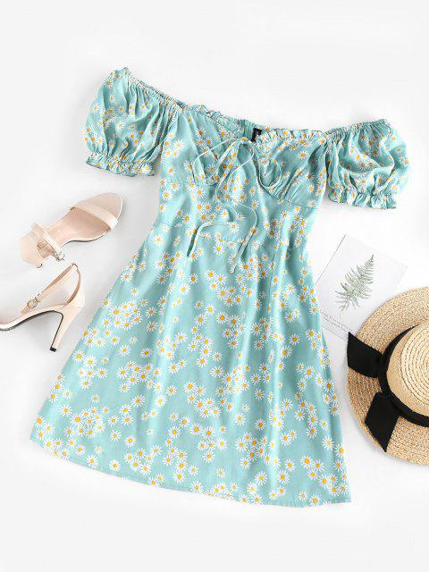 womens ZAFUL Daisy Floral Off Shoulder Frilled Dress - LIGHT BLUE L Mobile
