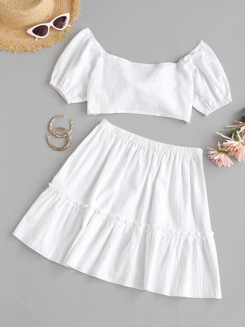 new Tie Front Puff Sleeve Tiered Skirt Set - WHITE L Mobile