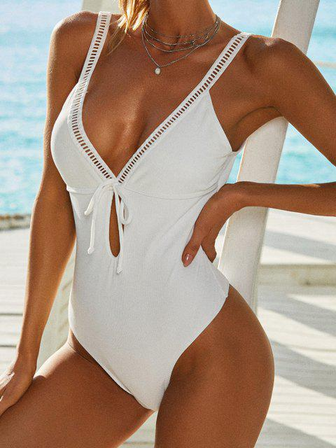 women's ZAFUL Ribbed Ladder Cut Bowknot Keyhole One-piece Swimsuit - WHITE S Mobile
