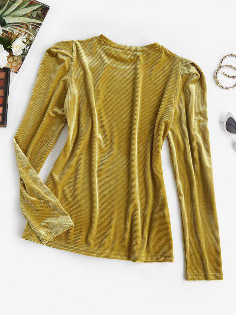 latest Ribbed Velvet Puff Sleeve Top - DEEP YELLOW L Mobile