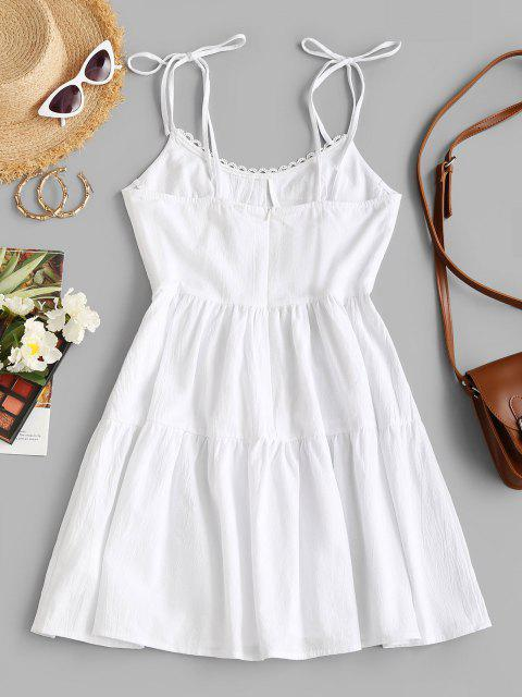 unique Bustier Tie Shoulder Swing Summer Dress - WHITE XL Mobile