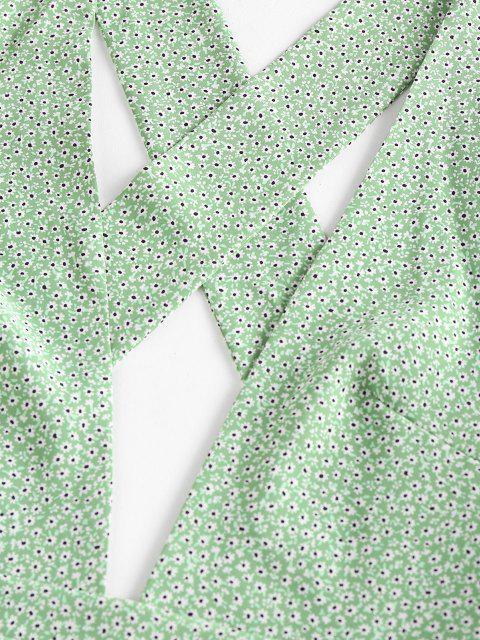 shops ZAFUL Ditsy Print Criss Cross Ruffle Backless Romper - LIGHT GREEN M Mobile