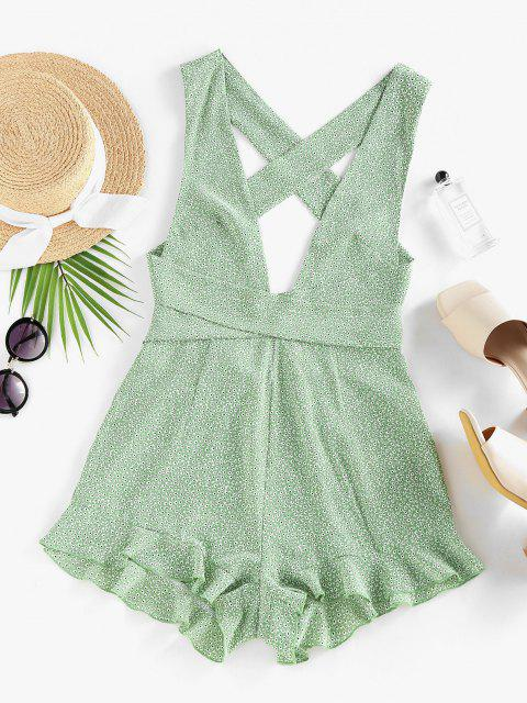 sale ZAFUL Ditsy Print Criss Cross Ruffle Backless Romper - LIGHT GREEN S Mobile