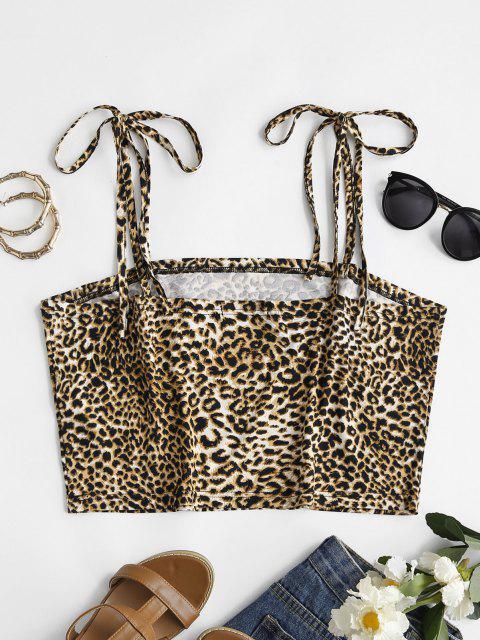 unique ZAFUL Plus Size Leopard Tie Shoulder Cami Top - MULTI 5XL Mobile