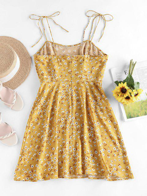 shop ZAFUL Ditsy Print Tie Shoulder Open Back Dress - DEEP YELLOW XL Mobile