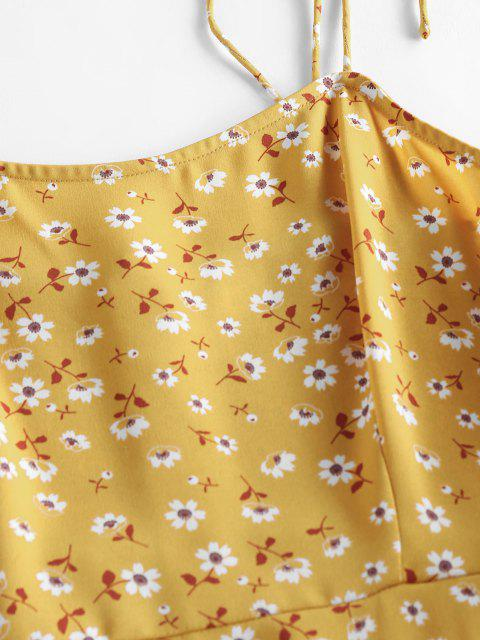latest ZAFUL Ditsy Print Tie Shoulder Open Back Dress - DEEP YELLOW S Mobile